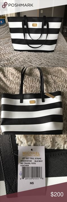 Michael Kors - Medium Travel Tote Brand new and has never been used! This is a medium travel tote in a timeless black and white stripe pattern. Great to use as an over night bag, beach bag, or a carry on when traveling the world! Michael Kors Bags Totes
