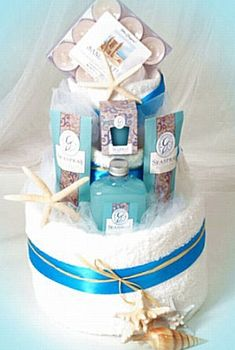 Sea Spray Spa Towel Cake | Buy at All About Gifts & Baskets (http://www.aagiftsandbaskets.com/sea_spray_spa_towel_cake.html)