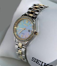 Seiko Watch  (Women's Pre-owned Solar Wristwatch, Stainless Steel Two Tone Gold, Swarovski Crystals, Ladies Designer Watches)