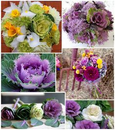 Scrumptious bouquets that feature ornamental cabbages! They look almost like roses.
