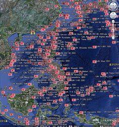 フィリピン周りで沈んだ旧日本軍の軍艦の位置を地図上に表示したら心が痛くなった なんだよこの地獄は