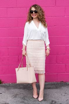 Lawyer Lookbook: Blush Pink Pineapple Pencil Skirt