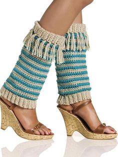 Fringed Leg Warmers by Mary Jane Hall Join site, free download.  Fringe is really hot right now!