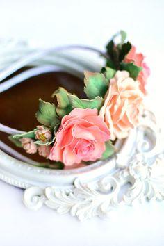 Haarreif mit Rosen Haarkranz Haarband Blumen  von ZoiaDesign