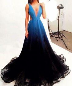 prom dress,Prom Dresses,Ombre Prom Dress Simple Chiffon Black Blue Bridesmaid Dresses by DestinyDress, $177.39 USD