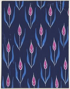 [Attributed to Paul Poiret] (French) Gouache and Stencil over Graphite, Fabric Design with Red Flower Buds (ca. 1918–1925)