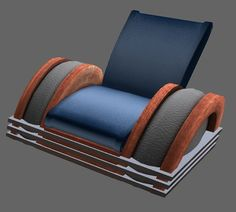 This chair appears a fair representation of the style. No? But it is a modern chair and for sale, commercially. Inspired by a classic art deco radio its smooth curves and reclined seat add warm and comfortable presence to your home or office.