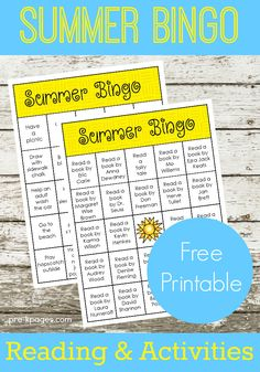 Summer bingo reading and activity printable to send home at the end of the school year with preschool and kindergarten students. End Of School Year, Summer School, Summer Kids, Free Summer, Summer 2015, Kids Learning Activities, Summer Activities For Kids, Learning Objectives, Indoor Activities