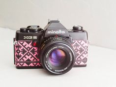 Minolta XG2 - functional vintage 35mm SLR camera for lomography, 50mm 1.7 prime lens, leather w/ European folk motif, XG-E, XG-7 + neckstrap