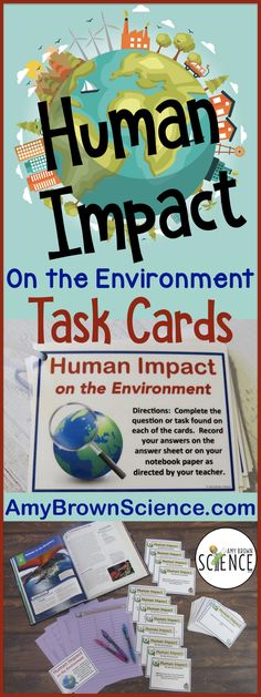"This is a set of 55 enrichment, reinforcement and review task cards for your lessons on ""humans and the environment."" Students will identify the many ways that humans have changed the biosphere, and will answer questions about ozone destruction, the greenhouse effect and global warming. Students will use their critical thinking skills to answer questions about the importance of biodiversity and keystone species. Key vocabulary words are thoroughly covered."