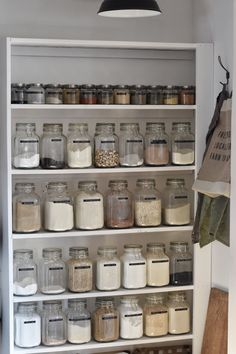 Sustainable living pantry that uses glass jars to store herbs and spices. Sustainable living pantry that uses glass jars to store herbs and spices. Kitchen Pantry Design, Kitchen Pantry Cabinets, Diy Kitchen Storage, Diy Storage, Kitchen Jars, Big Kitchen, Small Pantry Organization, Cupboard Storage, Organized Pantry