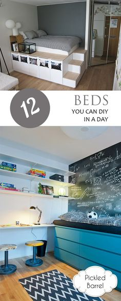 DIY Beds, DIY Bed Frame, DIY Bed Tutorials, Easy Bed DIYs, How to Make a DIY Bed, DIY Bedroom. DIY Bedroom Projects, Popular Pin