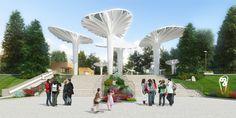 Проект реконструкции детского парка в г. Озерске. Входная группа в детский парк с ул. Советской © Архитектурное бюро А4