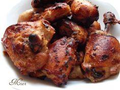 Íróban sült csirkecombok (Nigella)   Ancsika konyhája Nigella, Main Meals, Tandoori Chicken, Chicken Wings, Cake Recipes, Chicken Recipes, Bacon, Paleo, Food And Drink