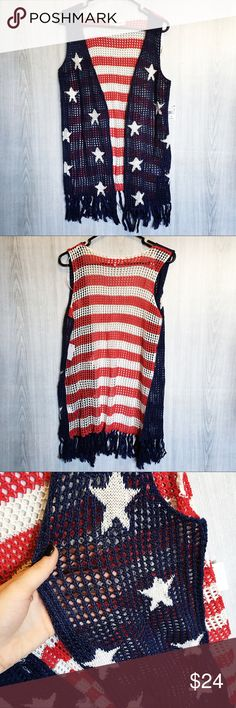 American flag crochet vest! Adorable crochet vest with fringe hem and an American flag print! Perfect for summer! Tops
