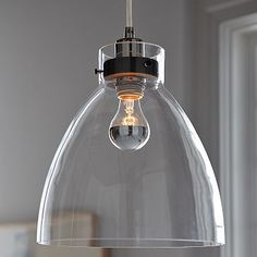 "Industrial Pendant – Glass #westelm - $99 11""T - 15'cord, black and silver and antique bronze 60W"