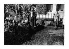 Black and White Vintage Snapshot Photograph Woman Cactus Garden Dress 1950's