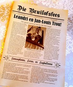 A new take on the traditional Wedding Programme, Die Bruilofsfees is an Afrikaans Newspaper Wedding Programme with a twist! Trendy Wedding, Dream Wedding, Wedding Day, Wedding Stuff, Wedding Newspaper, Brunch Wedding, Afrikaans, Wedding Programs, Traditional Wedding