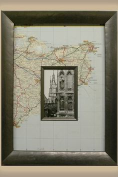 Frame, map as a mat – perfect for your travel and adventure gallery (honeymoon or even where you met, too)