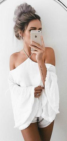 #winter #fashion /  White Top & Short