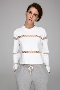 Front Row Shop Crop top with mesh stripes (white)