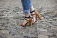 Rolled up jeans + Two toned Strappy sandals