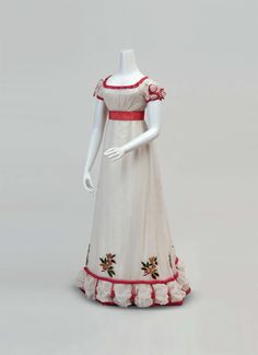 Ephemeral Elegance Holly Embroidered Lawn Dinner or Evening Dress, ca. winter 1824-26 via Cora Ginsburg