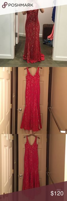 Red hot BCBG gown Ow ow! Turn heads in this show stopper! Red floral lace with a sultry front slit. Floor-length hemline. I am 5'3 and wore it with 4 inch heels. Concealed center back zipper with hook and eye closure. Self: rayon, cotton, nylon lace. Lining: polyester crepe de chine. Dry clean only. Fits true to size. Excellent condition, no rips, stains. Looks brand new! Worn once to a formal dinner on a cruise. Size 0. Would most likely fit sizes 00-2. BCBGeneration Dresses