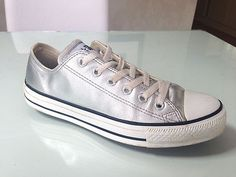 LIMITED EDITION OLD SCHOOL ALL STAR CONVERSE TRAINERS IN BLACK silver LEATHER