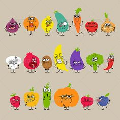 Cartoon Fruits and Vegetables with Expressions