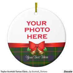 Taylor Scottish Tartan Christmas Photo Double-Sided Ceramic Round Christmas Ornament