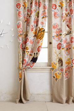 Pixilated Flora Curtain - anthropologie.com