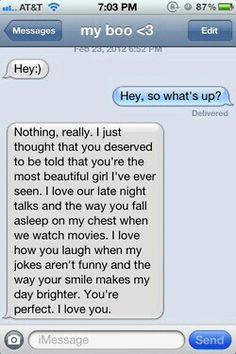 "Yeah, I'm the only girl in the world that would reply ""Can you stop being so cheesy, and just say you won't cheat?"" I'd gag if my guy sent me this. Relationship Texts, Cute Relationship Goals, Cute Relationships, Sweet Texts, Cute Texts, Funny Texts, Cute Text Messages, Sweet Messages, Just In Case"