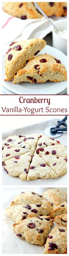 Cranberry and Vanilla-Yogurt Scones | www.diethood.com | Lightened-up, no-butter, sweet Scones made with a delicious vanilla yogurt and ruby red cranberries. #ad