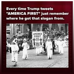 """The real meaning of MAGA. So his slogan was a dog whistle. The flag they gave everyone at the convention was the Russian flag with TRUMP printed on one side. And he taunts, """"Where's my African American."""" He is evil."""