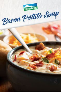 Warm up your day with this hearty bacon and potato soup recipe just like mom use to make.