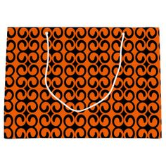 Orange and Black Pattern Large Gift Bag - Halloween happyhalloween festival party holiday