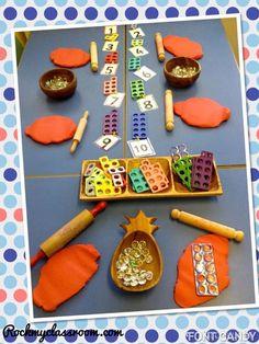 Numicon in Playdough links fine motor skills with the familiarisation of Numicon shapes Maths Eyfs, Eyfs Classroom, Preschool Math, Kindergarten Math, Teaching Math, Classroom Displays Eyfs, Numicon Activities, Nursery Activities, Counting Activities Eyfs