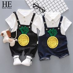Toddler Boy Clothing Set Girl Clothes Summer Kids Cartoon Pineapple Lapel T-shirt +Straps Short bib Suit Girls Summer Outfits, Toddler Boy Outfits, Toddler Boys, Girl Outfits, Baby Set, Baby Shirts, Baby Sweaters, Cartoon Kids, Summer Kids