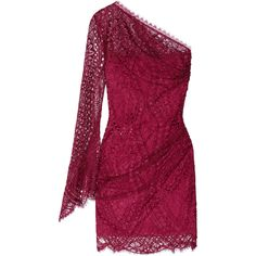 Emilio Pucci One-shoulder lace mini dress (5.980 VEF) ❤ liked on Polyvore featuring dresses, vestidos, emilio pucci, pink dresses, purple, purple dress, one-sleeve dress, pink lace cocktail dress, one sleeve cocktail dress and lace dress