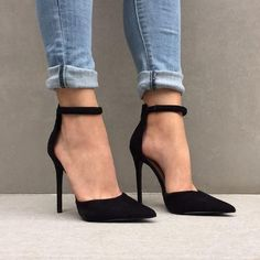 Color Block Pointed Toe Ankle Wrap Stiletto High Heels