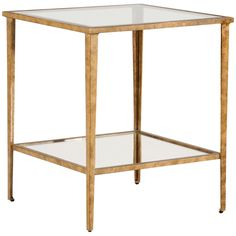 "Chelsea House Carson Gold End Table 381355. Features: - Glass top and shelf - Antique gold leaf on iron Measurements: 22"" w x 22"" d x 25"" h"