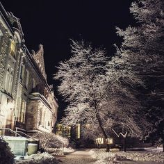 A goodie, but you can tell it's an oldie because we spy Maxon Hall in the background!  . . . #campus #winter #night #carrollu #viewsofcarrollu #carrolluniversity #rankinhall #maxonhall