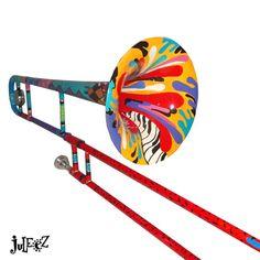Mendini Tenor Slide Trombone Painted Musical Instrument by Juleez Musician Gifts, Mini Canvas Art, French Horn, Trombone, Art Music, Music Logo, Recycled Art, Custom Paint, Musical Instruments