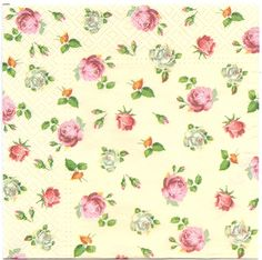 Decoupage Paper Napkins | Tiny Roses on Champagne Background  | Paper Napkins for Decoupage 1