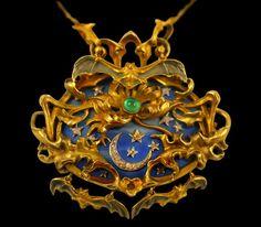 WOW!   Art Nouveau 18K gold necklace with diamonds, emeralds and bats ~circa 1900, France Primavera Gallery