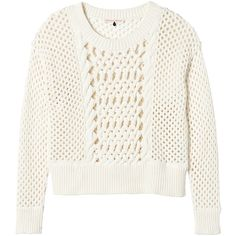 Rebecca Taylor Long Sleeve Open Cable Sweater found on Polyvore