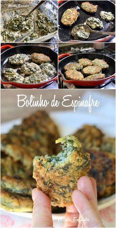 Bolinho de Espinafre, saudável e fácil de fazer! Vem conferir a receita que é MARA #bolinho #espinafre #bolinhodeespinafre #montaencanta