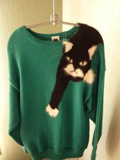 Mabel's Cat Sweater Rare 80's Vintage by TrumpVintage on Etsy