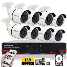 16CH 1080N DVR 1MP AHD 720P Outdoor Camera Home Surveillance Security System 1TB #SUNCHAN